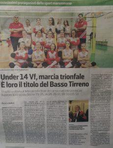 articolo Tirreno U 14 - Rosignano 2019