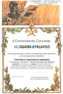 Attestato - SQUADRA PALLAVOLO-19 - Serie D